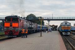 Gomel, DP1A-214, D 76, Belarus, Bahnhof, BY-DP1, 2TE10M-0852, 2TE10, 26.07.2013