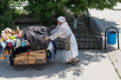 Kasachstan, Händler, Bahnhof, Arys, 30.07.2013