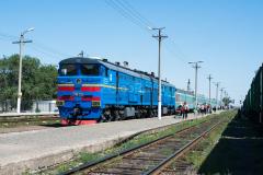 Kasachstan, D 14, Bahnhof, Aktogay, 2TE10M-3233, 2TE10, 04.08.2013