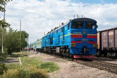 Kasachstan, D 14, Beskol, Bahnhof, 2TE10M-3233, 2TE10, 04.08.2013