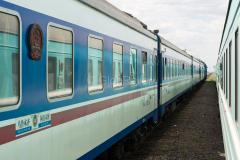 Zugkreuzung, Kasachstan, Bahnhof, Alakol, 04.08.2013