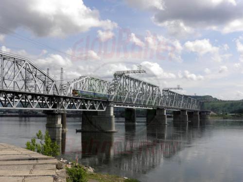 Krasnojarsk Eisenbahnbrücke über den Jenissei