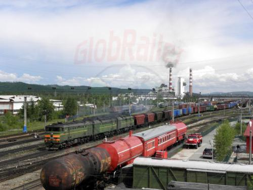 Tinda Bahnhof Ausfahrt Güterzug
